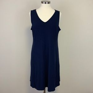 Eileen Fisher Navy Sleeveless V-Neck Jersey Dress